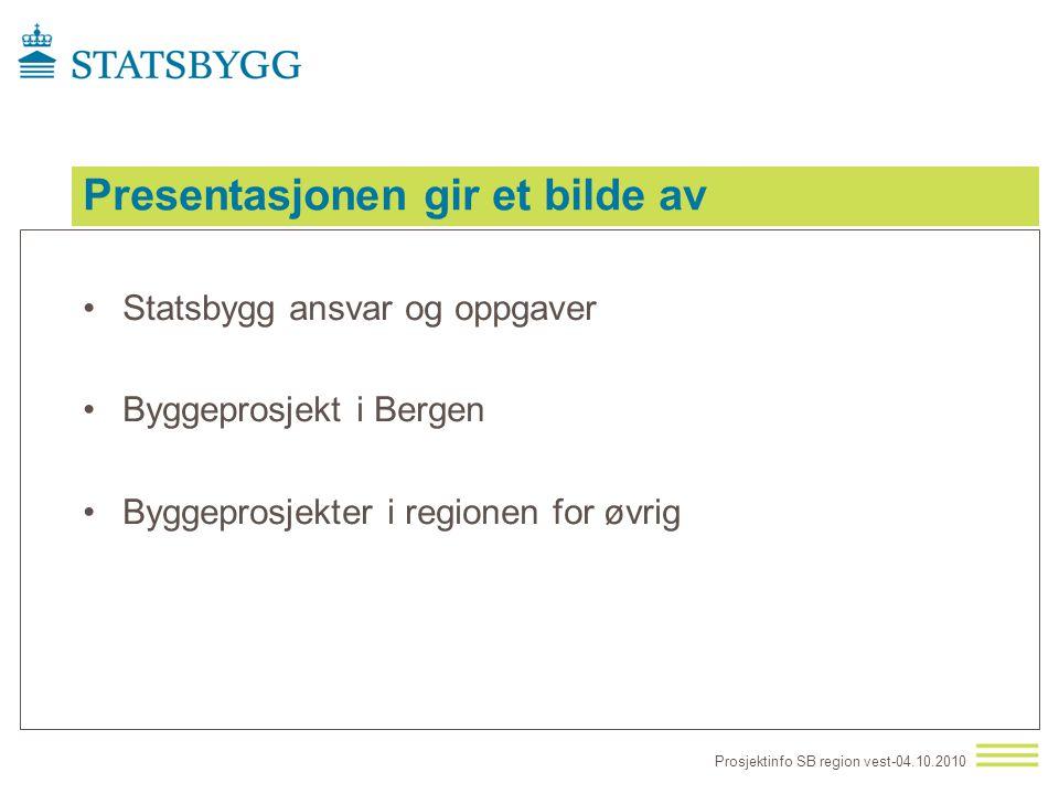 Presentasjonen gir et bilde av •Statsbygg ansvar og oppgaver •Byggeprosjekt i Bergen •Byggeprosjekter i regionen for øvrig Prosjektinfo SB region vest