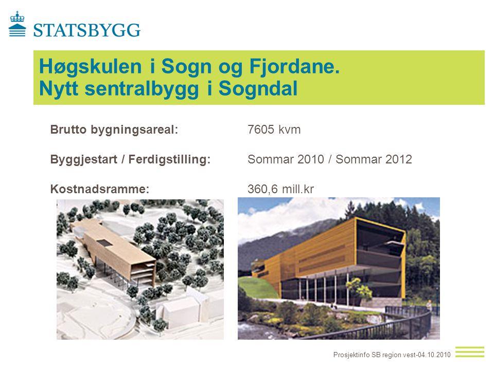 Høgskulen i Sogn og Fjordane. Nytt sentralbygg i Sogndal Prosjektinfo SB region vest-04.10.2010 Brutto bygningsareal: 7605 kvm Byggjestart / Ferdigsti
