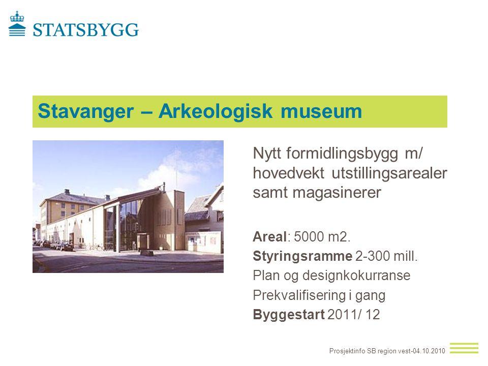 Stavanger – Arkeologisk museum Nytt formidlingsbygg m/ hovedvekt utstillingsarealer samt magasinerer Areal: 5000 m2. Styringsramme 2-300 mill. Plan og