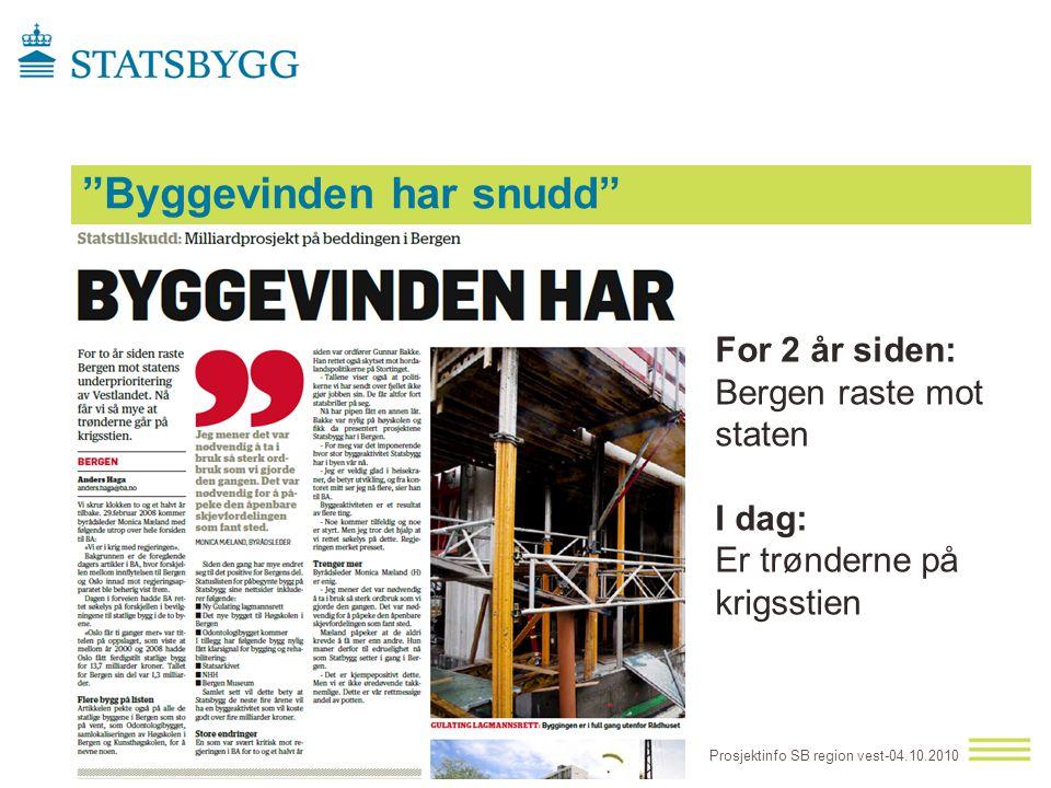 """""""Byggevinden har snudd"""" Prosjektinfo SB region vest-04.10.2010 For 2 år siden: Bergen raste mot staten I dag: Er trønderne på krigsstien"""