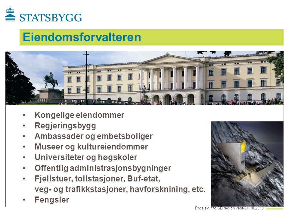 Bergen Museum •Programmeringsfase •Innvendig rehabilitering 10050 kvm •Foreløpig ferdigstillelse 2014/2016 Prosjektinfo SB region vest-04.10.2010