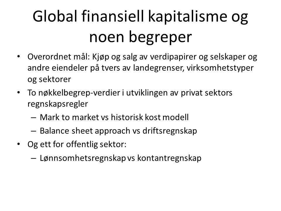 Global finansiell kapitalisme og noen begreper • Overordnet mål: Kjøp og salg av verdipapirer og selskaper og andre eiendeler på tvers av landegrenser
