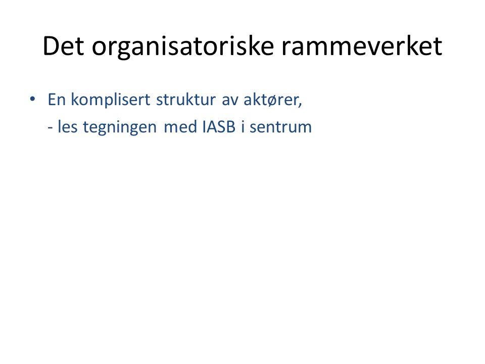 IASC IASB IFRIC SAC IFAC IFRS Standarder for privat sektor Standarder for offentlig sektor IPSASIPSASB Pilotprosjekt med innføring av periodiserings- prinsippet i Norge InternasjonaltNasjonalt Nasjonale regnskaps- standarder for privat næringsliv Organisasjoner som har akseptert IFRS som regler: EU, IOSCO, WTO, Verdensbanken, IMF, Basel-komiteen, finansministre og sentralbanksjefer i G-7 I NOU 2003:6 foreslås det å gå over fra kontant- til periodiseringsprinsippet ved regnskapsføring.