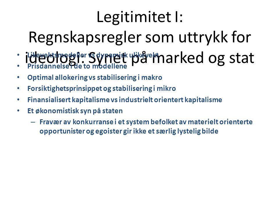 Legitimitet I: Regnskapsregler som uttrykk for ideologi: Synet på marked og stat • Likevektsmodeller vs dynamisk ulikevekt • Prisdannelse i de to mode