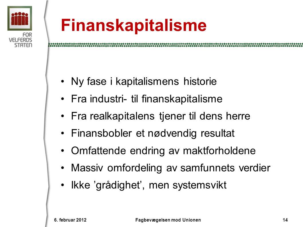 Finanskapitalisme •Ny fase i kapitalismens historie •Fra industri- til finanskapitalisme •Fra realkapitalens tjener til dens herre •Finansbobler et nødvendig resultat •Omfattende endring av maktforholdene •Massiv omfordeling av samfunnets verdier •Ikke 'grådighet', men systemsvikt 6.