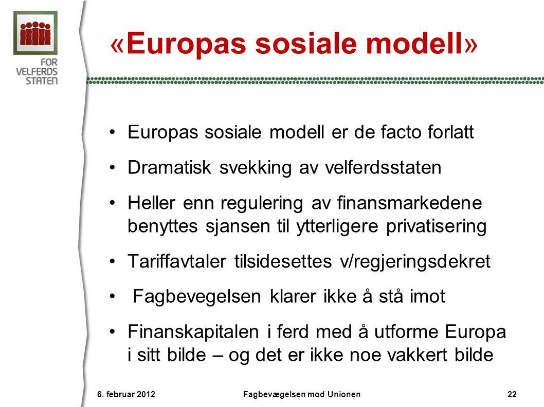 «Europas sosiale modell» •Europas sosiale modell er de facto forlatt •Dramatisk svekking av velferdsstaten •Heller enn regulering av finansmarkedene b
