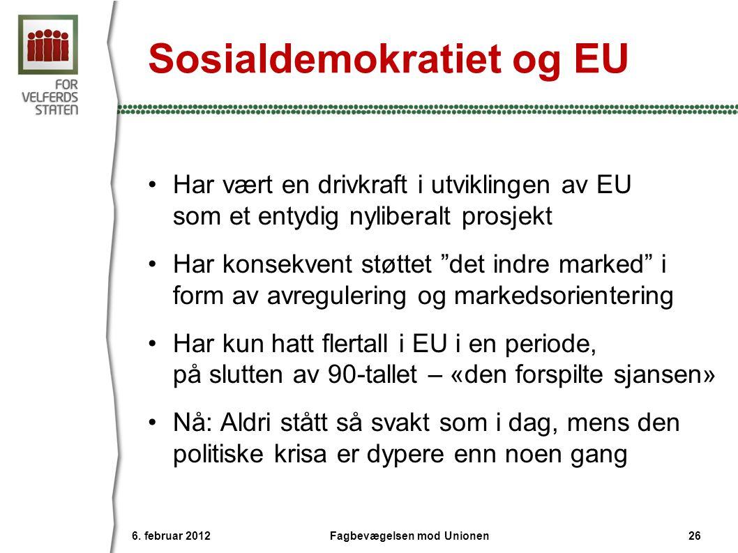 Sosialdemokratiet og EU •Har vært en drivkraft i utviklingen av EU som et entydig nyliberalt prosjekt •Har konsekvent støttet det indre marked i form av avregulering og markedsorientering •Har kun hatt flertall i EU i en periode, på slutten av 90-tallet – «den forspilte sjansen» •Nå: Aldri stått så svakt som i dag, mens den politiske krisa er dypere enn noen gang 6.
