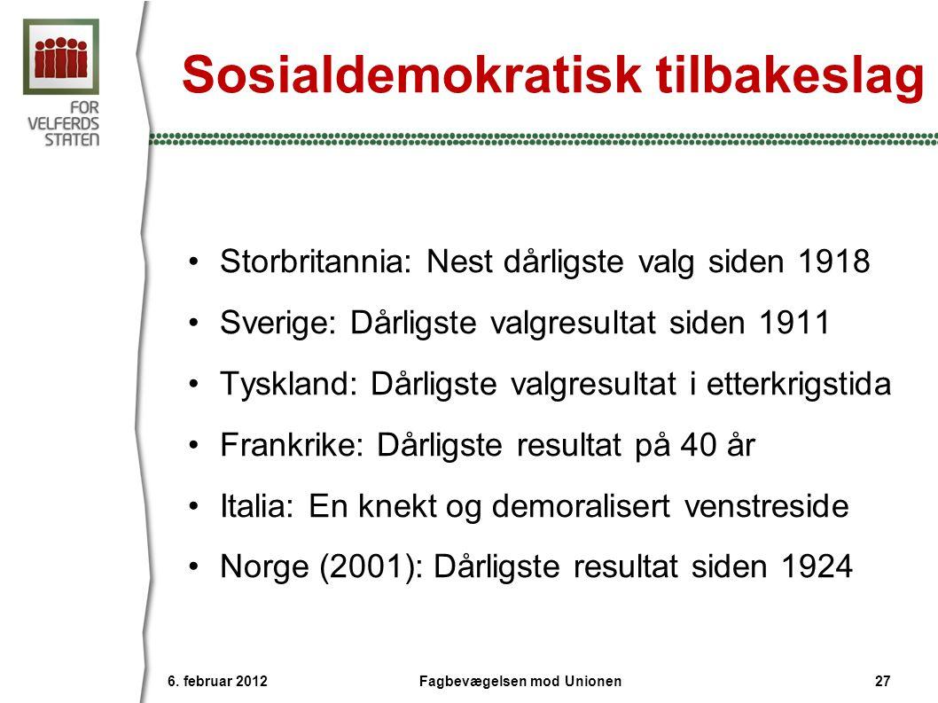 Sosialdemokratisk tilbakeslag •Storbritannia: Nest dårligste valg siden 1918 •Sverige: Dårligste valgresultat siden 1911 •Tyskland: Dårligste valgresu