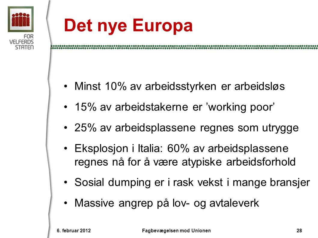 Det nye Europa •Minst 10% av arbeidsstyrken er arbeidsløs •15% av arbeidstakerne er 'working poor' •25% av arbeidsplassene regnes som utrygge •Eksplosjon i Italia: 60% av arbeidsplassene regnes nå for å være atypiske arbeidsforhold •Sosial dumping er i rask vekst i mange bransjer •Massive angrep på lov- og avtaleverk 6.
