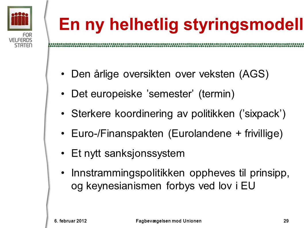 En ny helhetlig styringsmodell •Den årlige oversikten over veksten (AGS) •Det europeiske 'semester' (termin) •Sterkere koordinering av politikken ('si