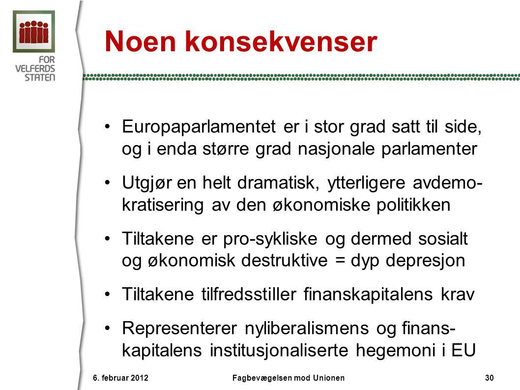 Noen konsekvenser •Europaparlamentet er i stor grad satt til side, og i enda større grad nasjonale parlamenter •Utgjør en helt dramatisk, ytterligere avdemo- kratisering av den økonomiske politikken •Tiltakene er pro-sykliske og dermed sosialt og økonomisk destruktive = dyp depresjon •Tiltakene tilfredsstiller finanskapitalens krav •Representerer nyliberalismens og finans- kapitalens institusjonaliserte hegemoni i EU 6.