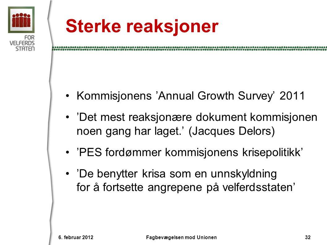 Sterke reaksjoner •Kommisjonens 'Annual Growth Survey' 2011 •'Det mest reaksjonære dokument kommisjonen noen gang har laget.' (Jacques Delors) •'PES fordømmer kommisjonens krisepolitikk' •'De benytter krisa som en unnskyldning for å fortsette angrepene på velferdsstaten' 6.
