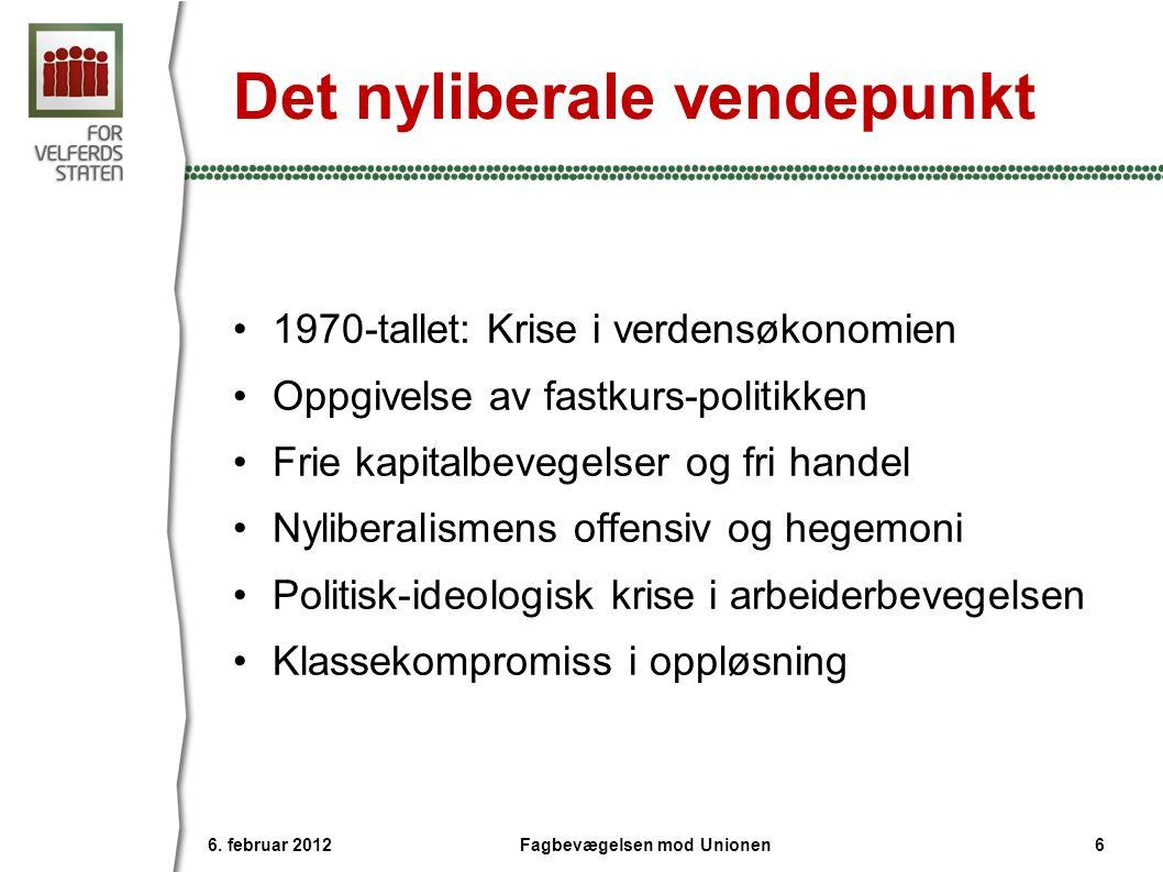 Det nyliberale vendepunkt •1970-tallet: Krise i verdensøkonomien •Oppgivelse av fastkurs-politikken •Frie kapitalbevegelser og fri handel •Nyliberalis
