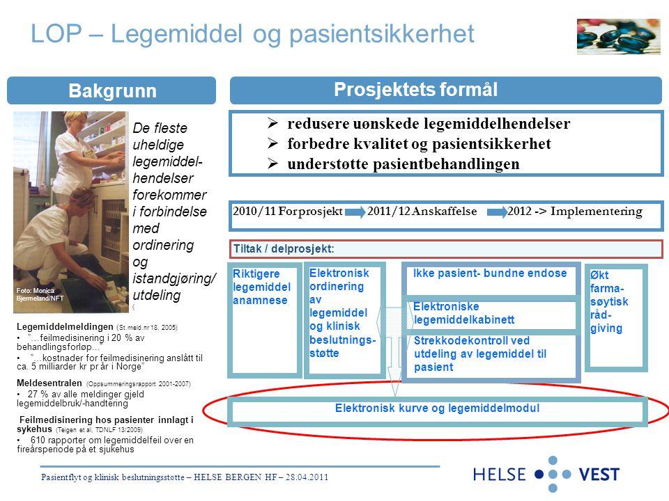"""Prosjektets formål Bakgrunn Objectives Ikke pasient- bundne endose Legemiddelmeldingen ( St.meld.nr 18, 2005) • """"…feilmedisinering i 20 % av behandlin"""
