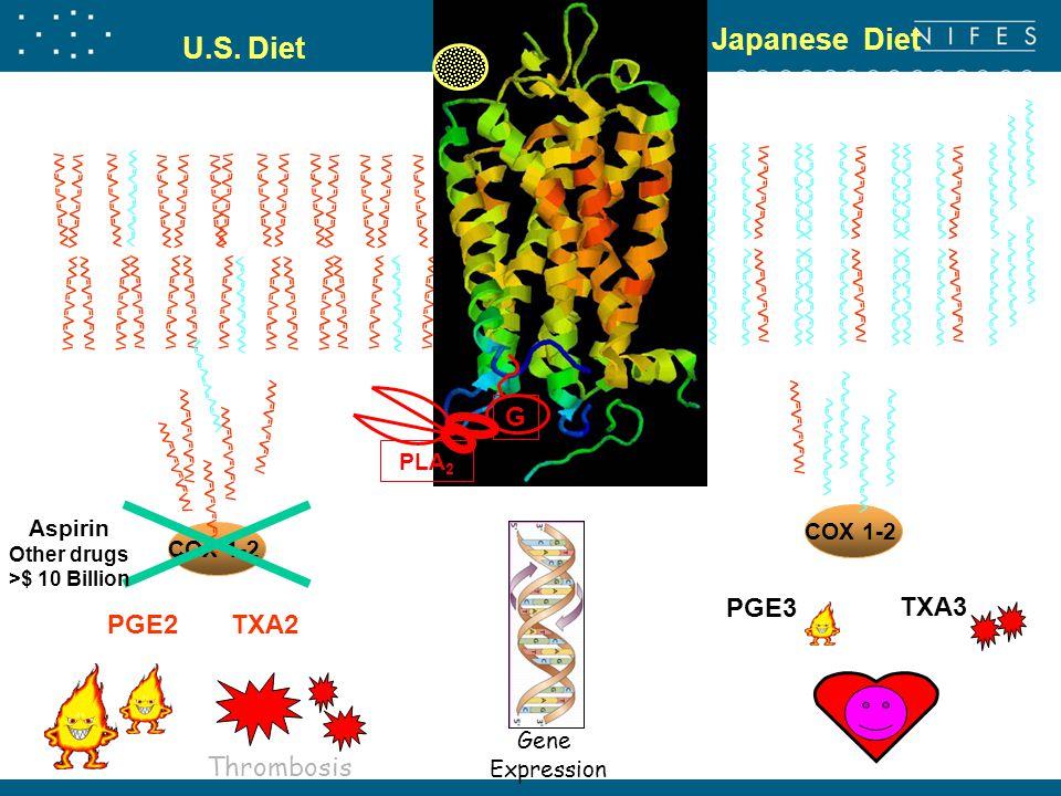 U.S. Diet Japanese Diet COX 1-2 Aspirin Other drugs >$ 10 Billion PGE2TXA2 Thrombosis Gene Expression PGE3 TXA3 COX 1-2 PLA 2 G