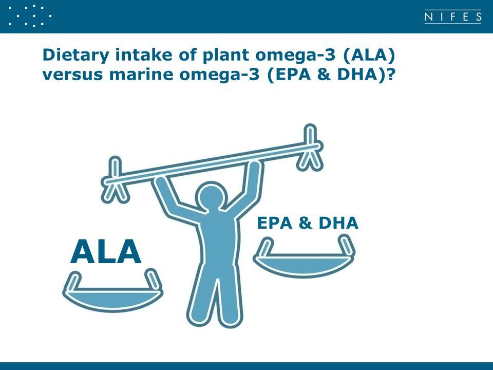 Dietary intake of plant omega-3 (ALA) versus marine omega-3 (EPA & DHA)? ALA EPA & DHA
