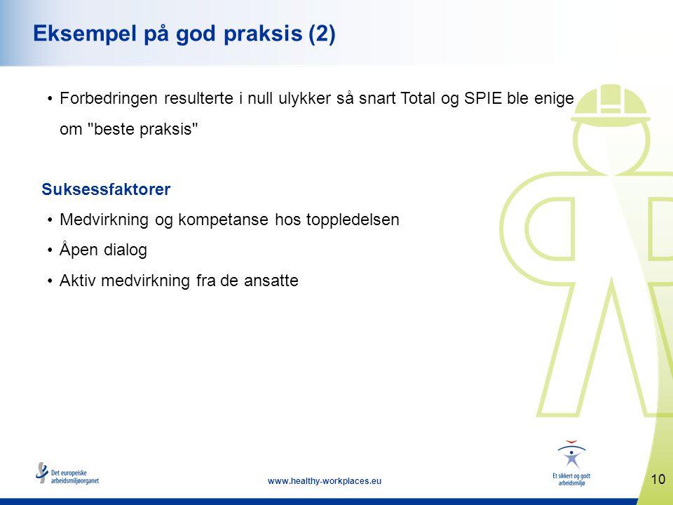 10 www.healthy-workplaces.eu Eksempel på god praksis (2) •Forbedringen resulterte i null ulykker så snart Total og SPIE ble enige om