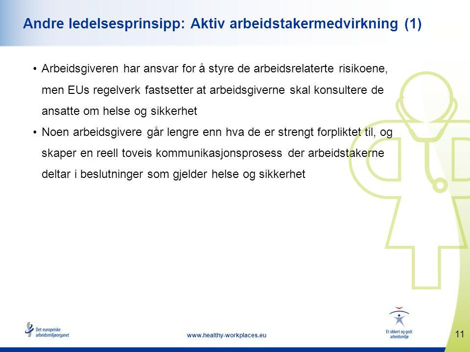 11 www.healthy-workplaces.eu Andre ledelsesprinsipp: Aktiv arbeidstakermedvirkning (1) •Arbeidsgiveren har ansvar for å styre de arbeidsrelaterte risi
