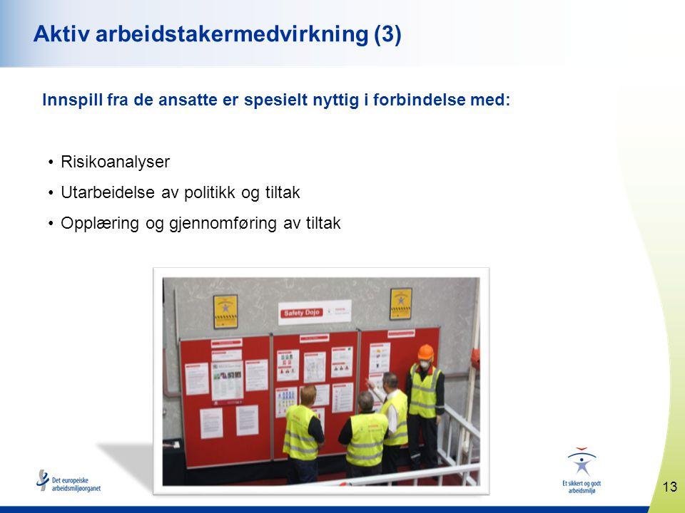 13 www.healthy-workplaces.eu Aktiv arbeidstakermedvirkning (3) Innspill fra de ansatte er spesielt nyttig i forbindelse med: •Risikoanalyser •Utarbeidelse av politikk og tiltak •Opplæring og gjennomføring av tiltak