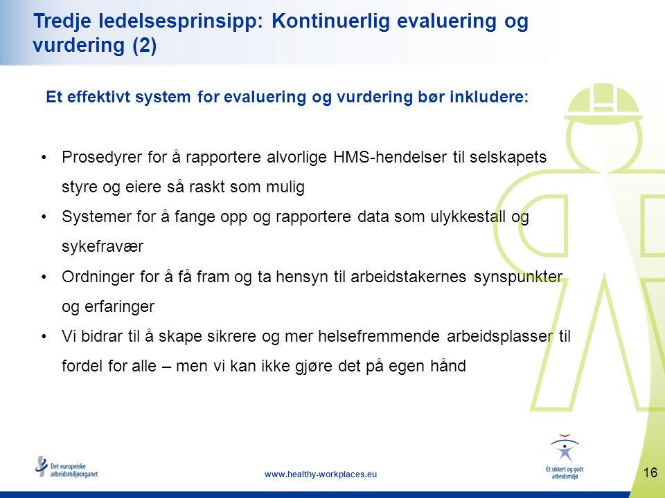 16 www.healthy-workplaces.eu Tredje ledelsesprinsipp: Kontinuerlig evaluering og vurdering (2) Et effektivt system for evaluering og vurdering bør ink