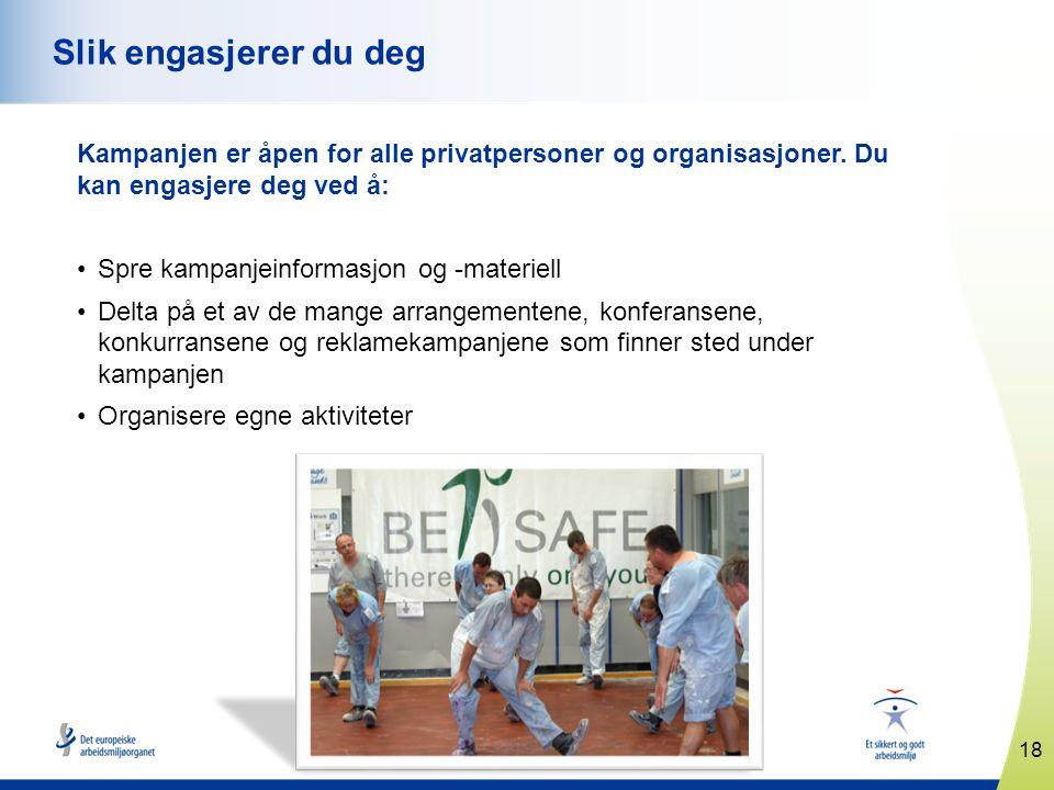 www.healthy-workplaces.eu Kampanjen er åpen for alle privatpersoner og organisasjoner. Du kan engasjere deg ved å: •Spre kampanjeinformasjon og -mater