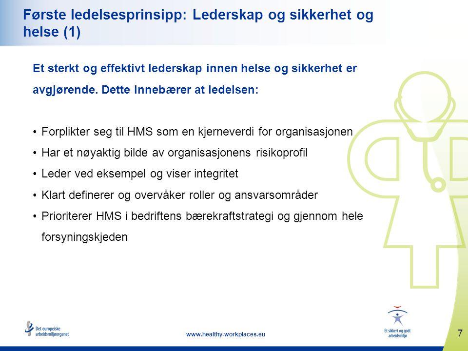 7 www.healthy-workplaces.eu Første ledelsesprinsipp: Lederskap og sikkerhet og helse (1) Et sterkt og effektivt lederskap innen helse og sikkerhet er