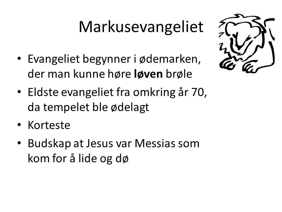 Markusevangeliet • Evangeliet begynner i ødemarken, der man kunne høre løven brøle • Eldste evangeliet fra omkring år 70, da tempelet ble ødelagt • Korteste • Budskap at Jesus var Messias som kom for å lide og dø