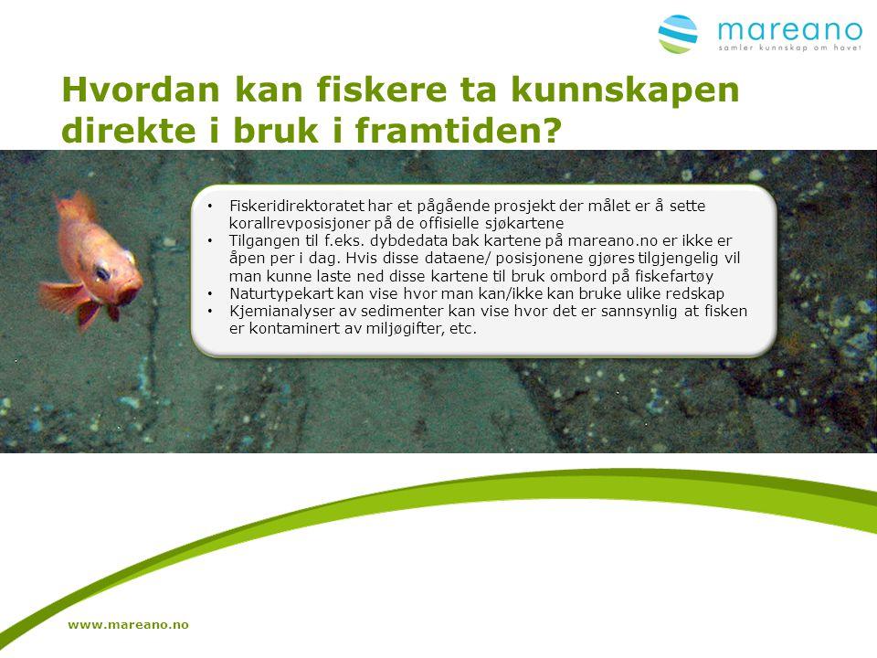 Hvordan kan fiskere ta kunnskapen direkte i bruk i framtiden? www.mareano.no • Fiskeridirektoratet har et pågående prosjekt der målet er å sette koral