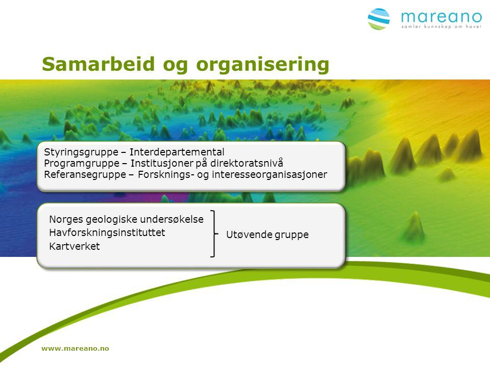 Samarbeid og organisering www.mareano.no Norges geologiske undersøkelse Havforskningsinstituttet Kartverket Utøvende gruppe Styringsgruppe – Interdepa