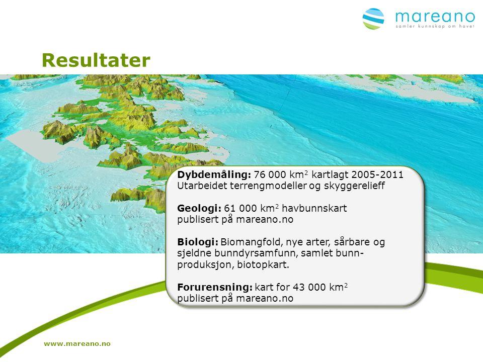 Resultater www.mareano.no Dybdemåling: 76 000 km 2 kartlagt 2005-2011 Utarbeidet terrengmodeller og skyggerelieff Geologi: 61 000 km 2 havbunnskart pu