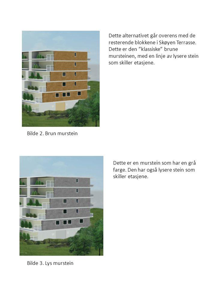 """Dette alternativet går overens med de resterende blokkene i Skøyen Terrasse. Dette er den """"klassiske"""" brune mursteinen, med en linje av lysere stein s"""