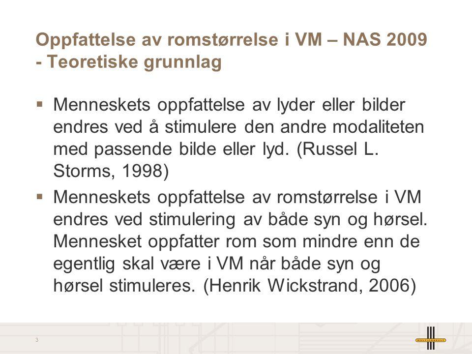 2 Oppfattelse av romstørrelse i VM – NAS 2009  Bakgrunn for innlegg  Teoretiske grunnlag  Egne arbeider, eksempler og synspunkt  Nytteverdi for en akustiker