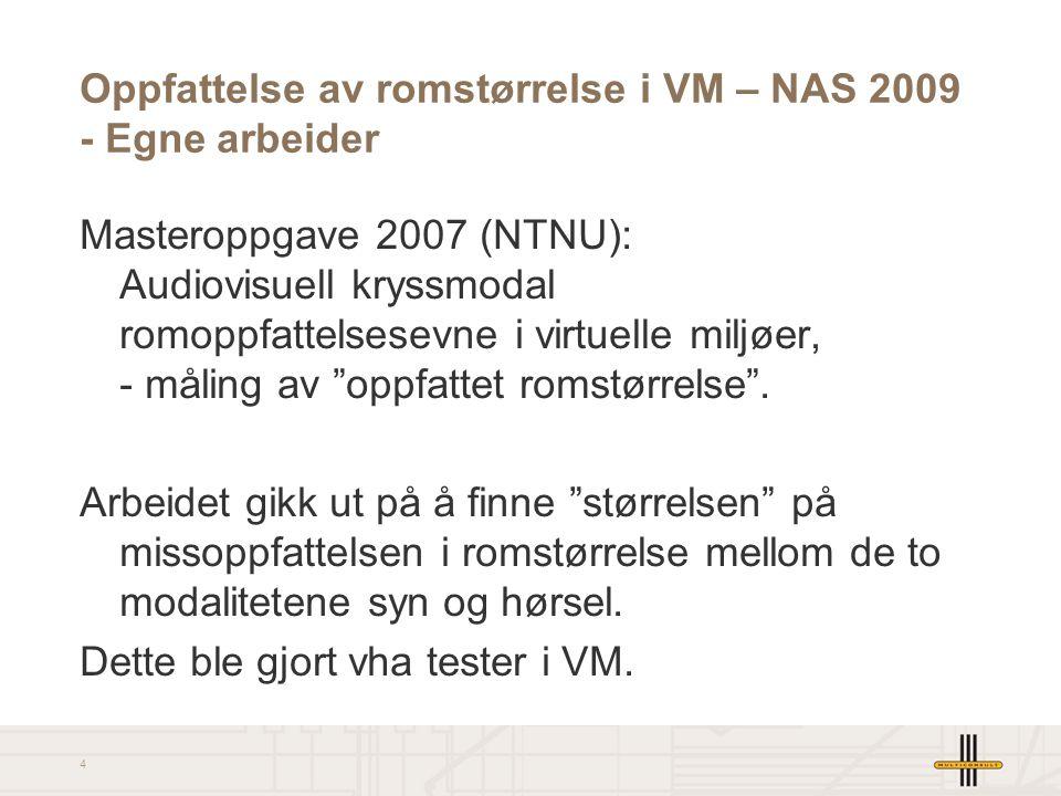 4 Oppfattelse av romstørrelse i VM – NAS 2009 - Egne arbeider Masteroppgave 2007 (NTNU): Audiovisuell kryssmodal romoppfattelsesevne i virtuelle miljøer, - måling av oppfattet romstørrelse .