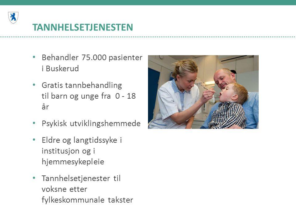 TANNHELSETJENESTEN • Behandler 75.000 pasienter i Buskerud • Gratis tannbehandling til barn og unge fra 0 - 18 år • Psykisk utviklingshemmede • Eldre og langtidssyke i institusjon og i hjemmesykepleie • Tannhelsetjenester til voksne etter fylkeskommunale takster