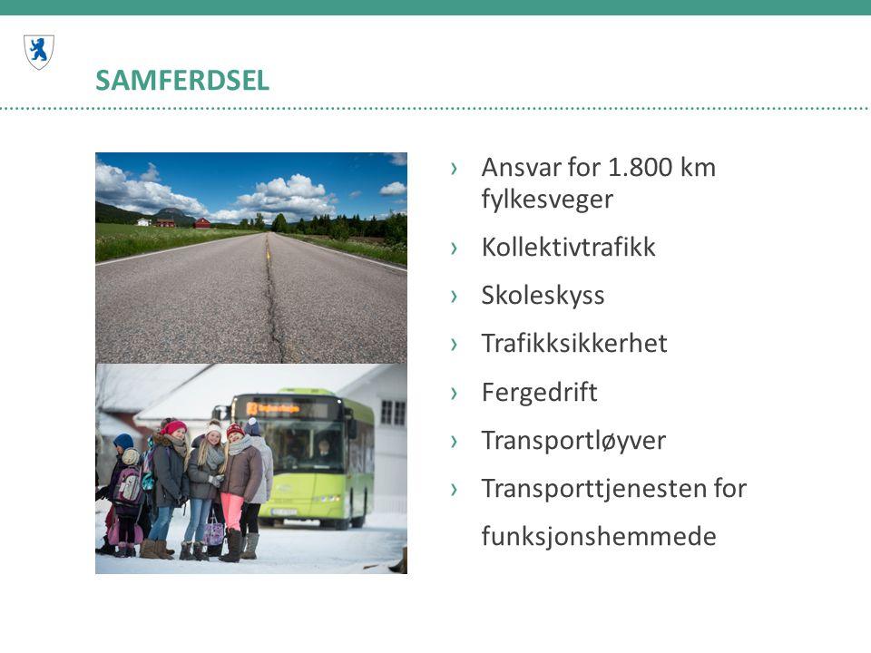 SAMFERDSEL ›Ansvar for 1.800 km fylkesveger ›Kollektivtrafikk ›Skoleskyss ›Trafikksikkerhet ›Fergedrift ›Transportløyver ›Transporttjenesten for funksjonshemmede