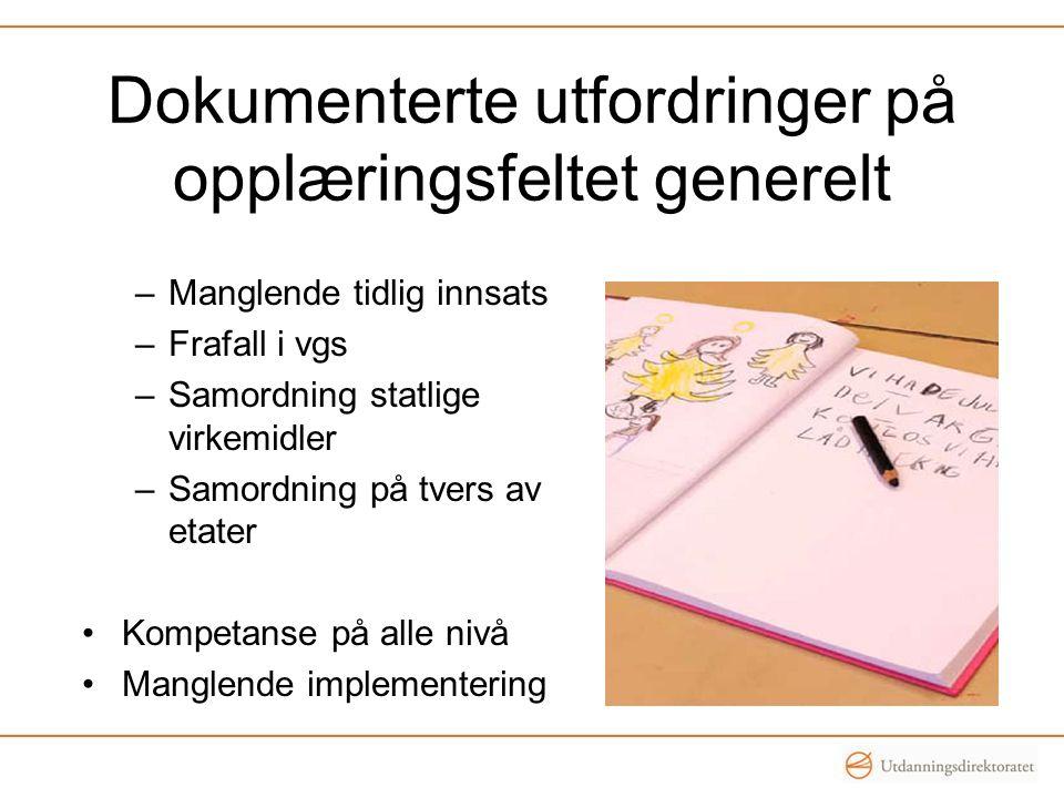 Dokumenterte utfordringer på opplæringsfeltet generelt –Manglende tidlig innsats –Frafall i vgs –Samordning statlige virkemidler –Samordning på tvers