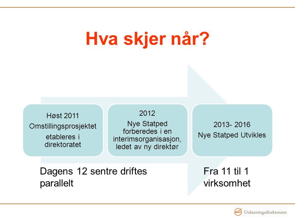 Høst 2011 Omstillingsprosjektet etableres i direktoratet 2012 Nye Statped forberedes i en interimsorganisasjon, ledet av ny direktør 2013- 2016 Nye St