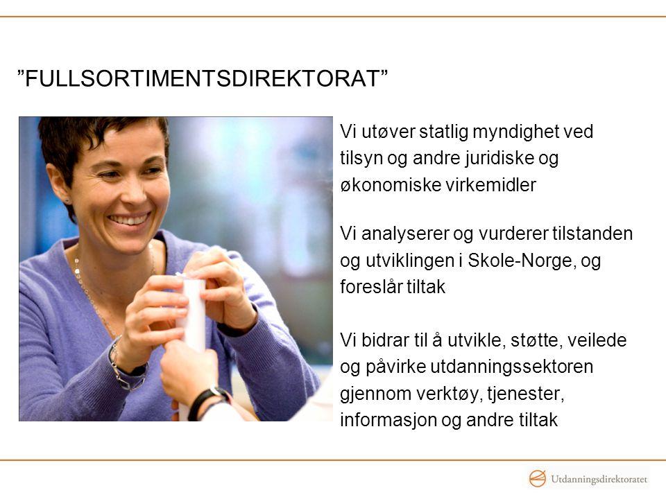 Vi utøver statlig myndighet ved tilsyn og andre juridiske og økonomiske virkemidler Vi analyserer og vurderer tilstanden og utviklingen i Skole-Norge, og foreslår tiltak Vi bidrar til å utvikle, støtte, veilede og påvirke utdanningssektoren gjennom verktøy, tjenester, informasjon og andre tiltak FULLSORTIMENTSDIREKTORAT