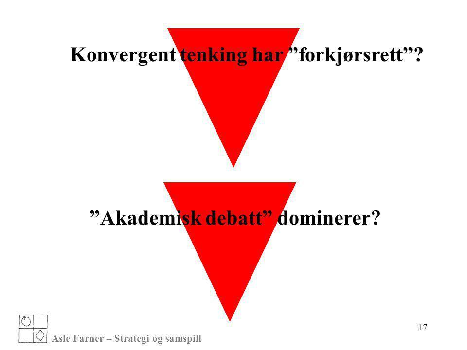 """Asle Farner – Strategi og samspill 17 """"Akademisk debatt"""" dominerer? Konvergent tenking har """"forkjørsrett""""?"""