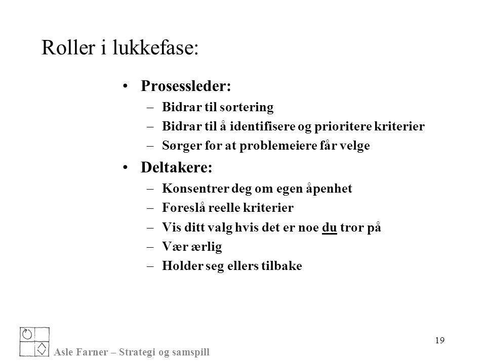 Asle Farner – Strategi og samspill 19 Roller i lukkefase: •Prosessleder: –Bidrar til sortering –Bidrar til å identifisere og prioritere kriterier –Sør