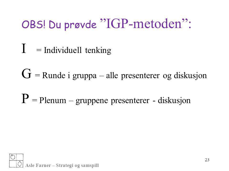 """Asle Farner – Strategi og samspill OBS! Du prøvde """"IGP-metoden"""": I = Individuell tenking G = Runde i gruppa – alle presenterer og diskusjon P = Plenum"""