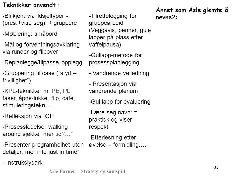 Asle Farner – Strategi og samspill 32 -Tilrettelegging for gruppearbeid (Veggavis, penner, gule lapper på plass etter vaffelpausa) -Gullapp-metode for