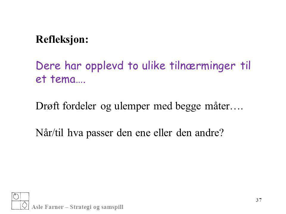 Asle Farner – Strategi og samspill Refleksjon: Dere har opplevd to ulike tilnærminger til et tema…. Drøft fordeler og ulemper med begge måter…. Når/ti