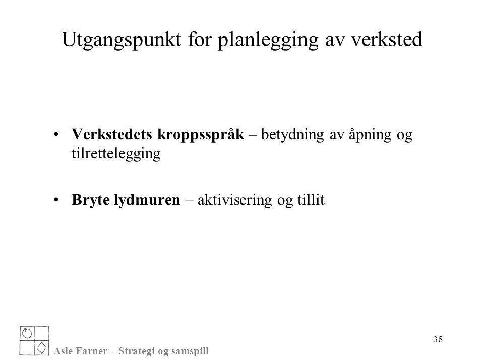 Asle Farner – Strategi og samspill 38 Utgangspunkt for planlegging av verksted •Verkstedets kroppsspråk – betydning av åpning og tilrettelegging •Bryt