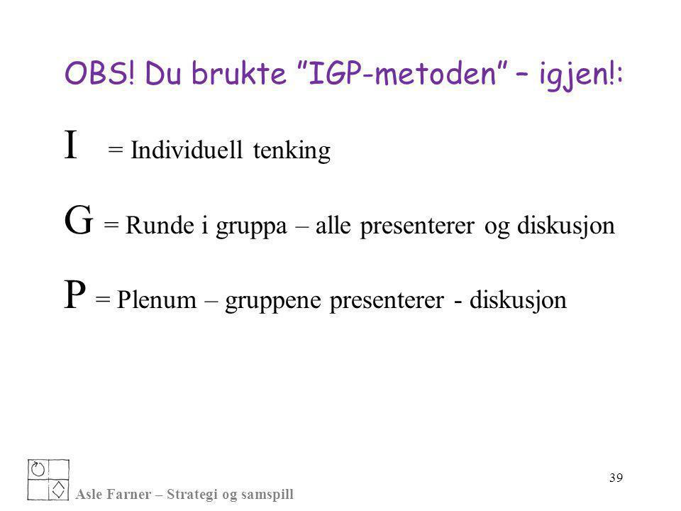 """Asle Farner – Strategi og samspill OBS! Du brukte """"IGP-metoden"""" – igjen!: I = Individuell tenking G = Runde i gruppa – alle presenterer og diskusjon P"""