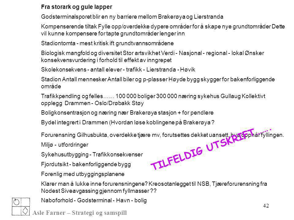 Asle Farner – Strategi og samspill 42 Fra storark og gule lapper Godsterminalsporet blir en ny barriere mellom Brakerøya og Lierstranda Kompenserende
