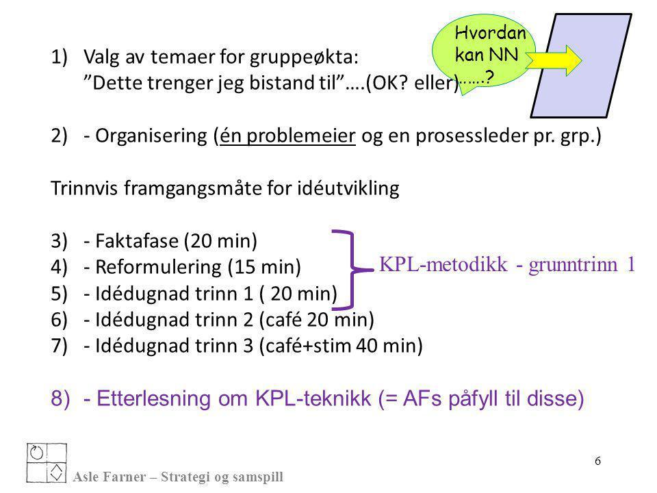 """Asle Farner – Strategi og samspill 1)Valg av temaer for gruppeøkta: """"Dette trenger jeg bistand til""""….(OK? eller) 2)- Organisering (én problemeier og e"""