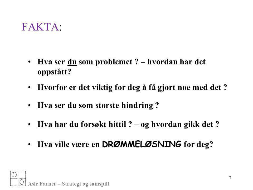 Asle Farner – Strategi og samspill 7 FAKTA: •Hva ser du som problemet ? – hvordan har det oppstått? •Hvorfor er det viktig for deg å få gjort noe med