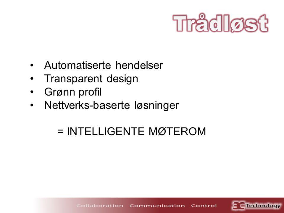 •Automatiserte hendelser •Transparent design •Grønn profil •Nettverks-baserte løsninger = INTELLIGENTE MØTEROM