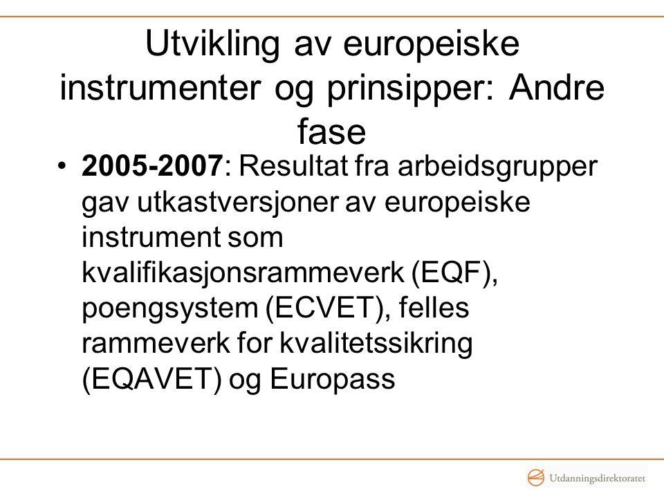 Utvikling av europeiske instrumenter og prinsipper: Andre fase •2005-2007: Resultat fra arbeidsgrupper gav utkastversjoner av europeiske instrument so